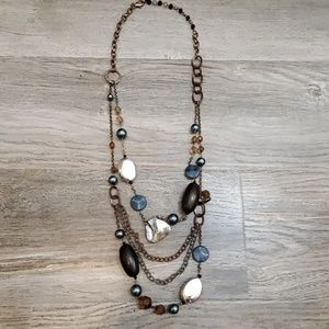 Bronze and blue pearl and stone necklace